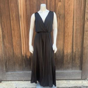 Vintage black satin bell bottom jumpsuit